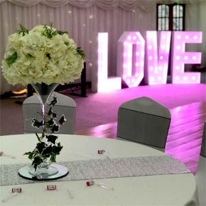 Large LOVE letters hire Wedding center piece peterborough