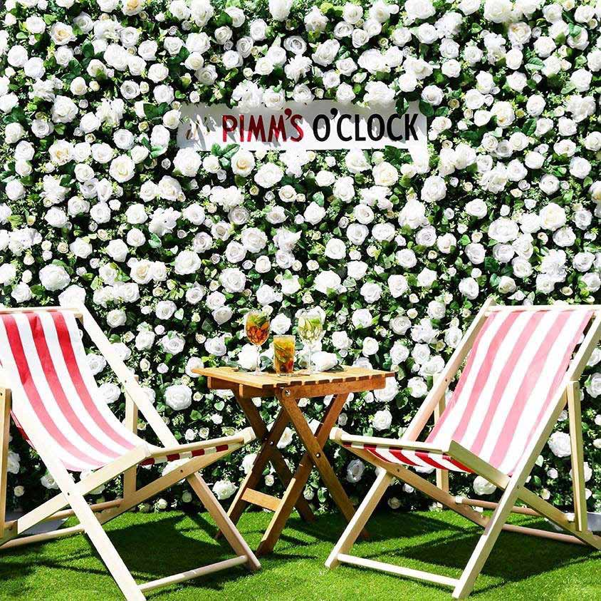 Pimms Flower wall at wimbledon Elegant Design