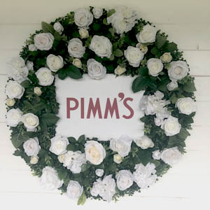 Pimms Flower wall corporate event london peterborough