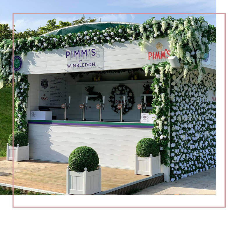 Elegant Design Flower display Pimms at Wimbledon 2019