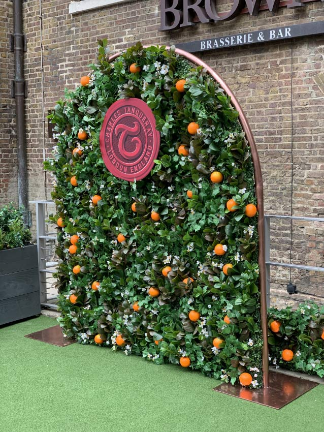 Browns Bar Flower Wall with oranges